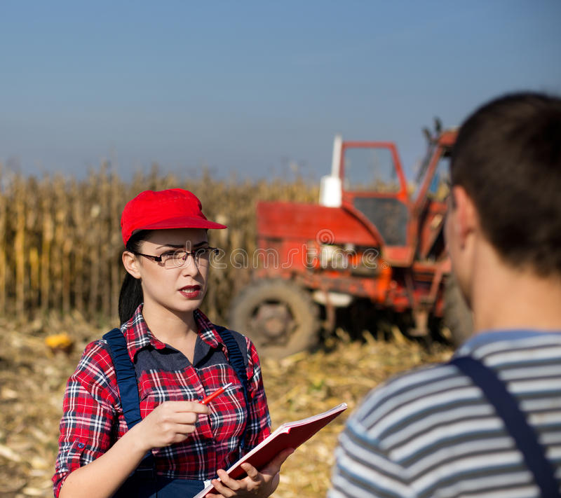 Agrnomist y granjero de la mujer en el campo imagen de archivo libre de regalías