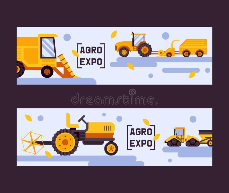 Agro ekspozycja ustawiająca sztandaru wektoru ilustracja Zbiera? maszyn? Wyposa?enie dla rolnictwa przemys?owy gospodarstwo rolne royalty ilustracja
