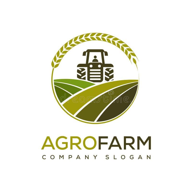 Agro lantgård - illustration för vektorlogodesign av den åkerbruka affären vektor illustrationer