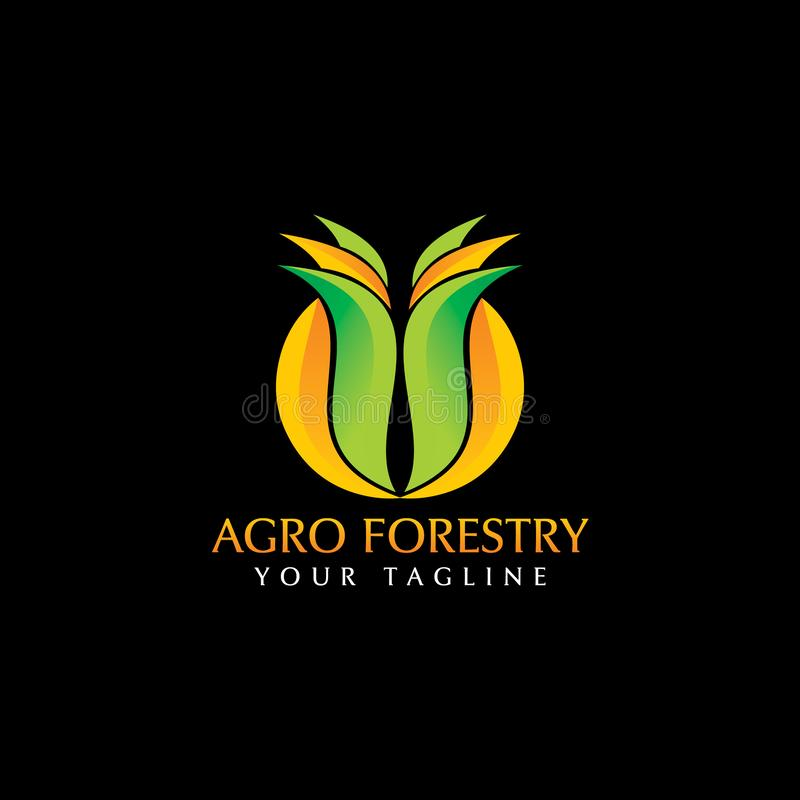 Agro skogsbrukLogo Design inspiration royaltyfri illustrationer
