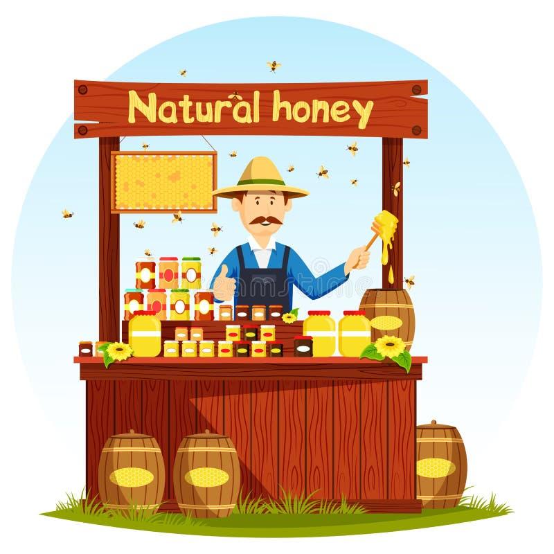 Agronom, das Honig am Marktstall oder -schaukasten verkauft stock abbildung