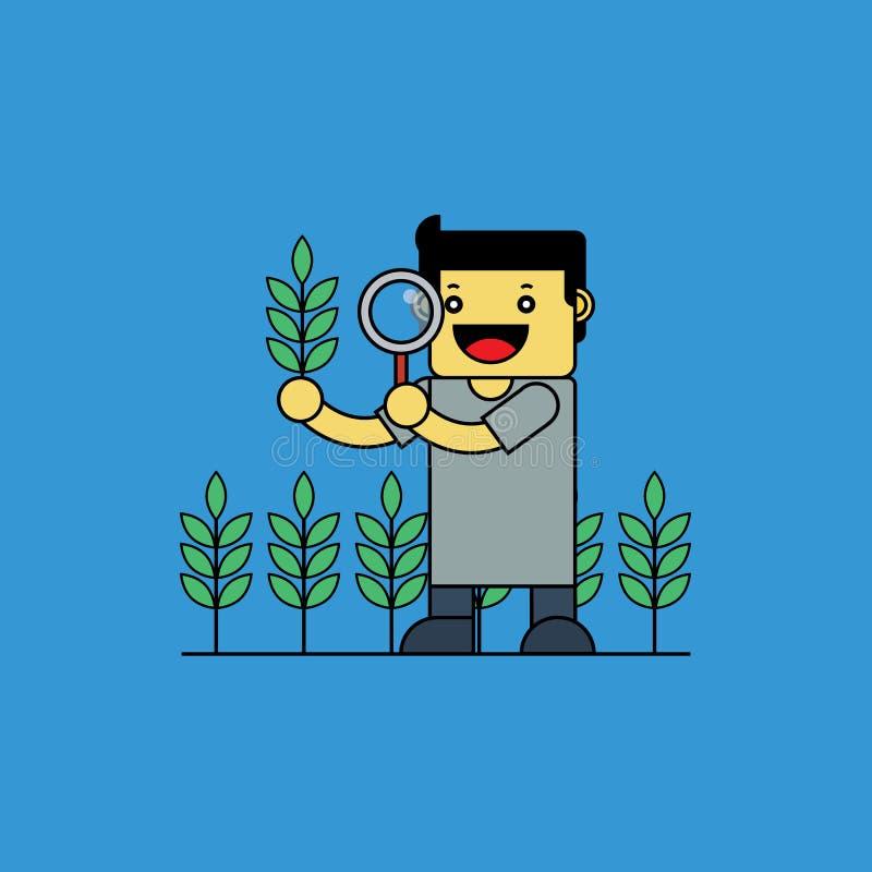 Agronomist проверяя рис иллюстрация вектора