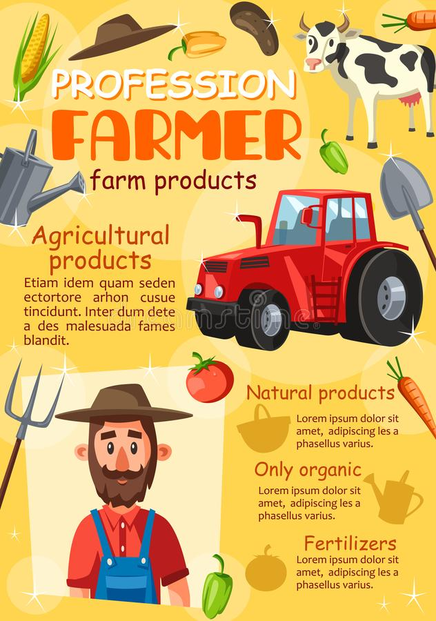 Agronomist фермера, профессия фермы земледелия иллюстрация вектора