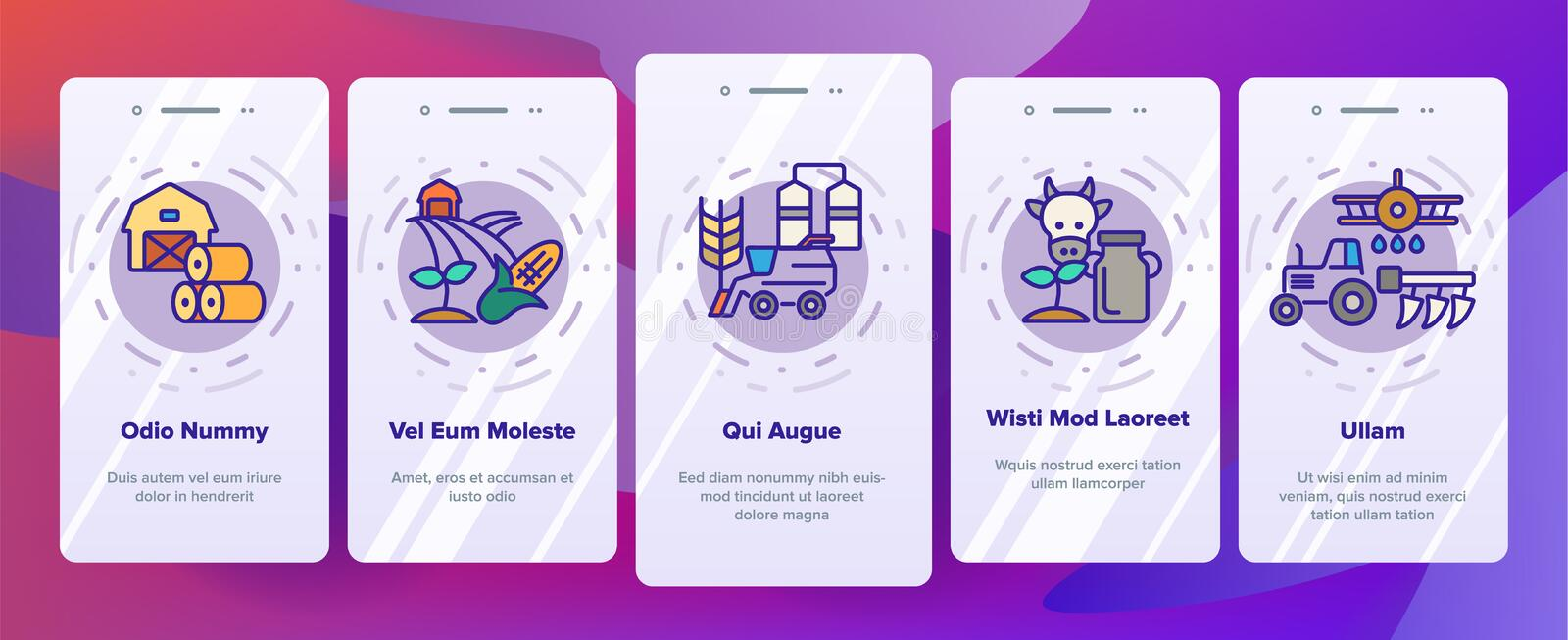Agronomy Industry Vector Onboarding Mobile App Page Screen. Agronomy Machinery Linear Illustrations. Growing Crops, Fruits Equipment. Farming, Meat, Dairy vector illustration