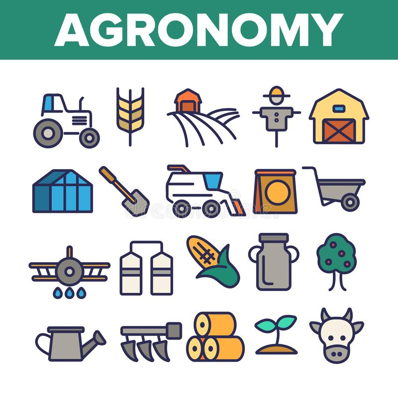 Agronomy Industry Vector Thin Line Icons Set. Agronomy Machinery Linear Illustrations. Growing Crops, Fruits Equipment. Farming, Meat, Dairy Products royalty free illustration