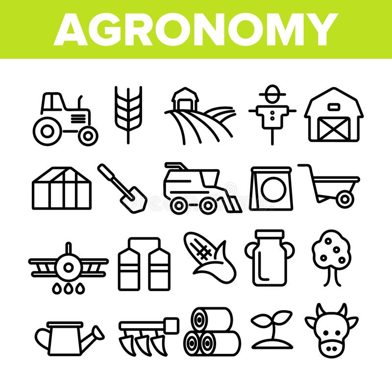 Agronomy Industry Vector Thin Line Icons Set. Agronomy Machinery Linear Illustrations. Growing Crops, Fruits Equipment. Farming, Meat, Dairy Products stock illustration
