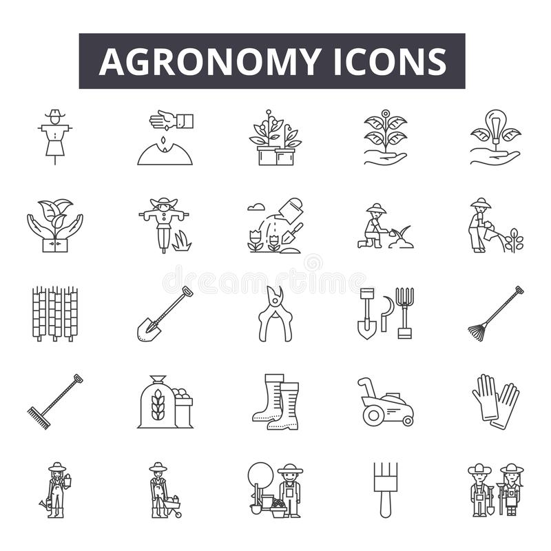 Agronomy line icons. Editable stroke signs. Concept icons: agriculture, farming, plant, farmer, crop, farm industry etc. Agronomy line icons. Editable stroke royalty free illustration