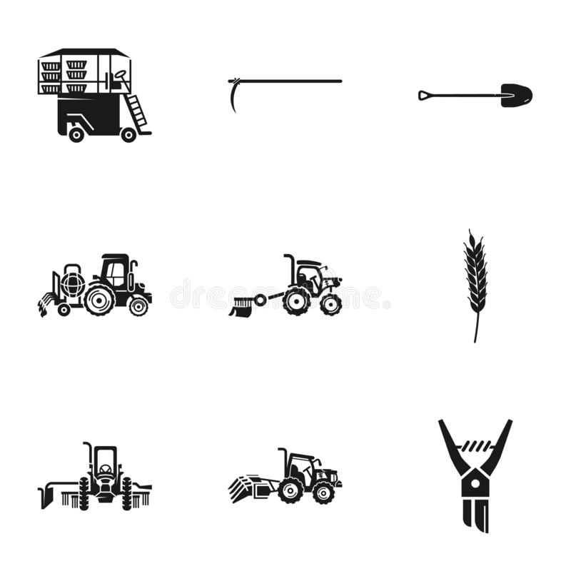 Agronomy machinery icon set, simple style. Agronomy machinery icon set. Simple set of 9 agronomy machinery vector icons for web design isolated on white stock illustration