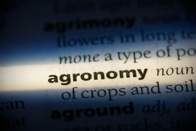 Agronomy. Word in a dictionary.  concept, definition stock image