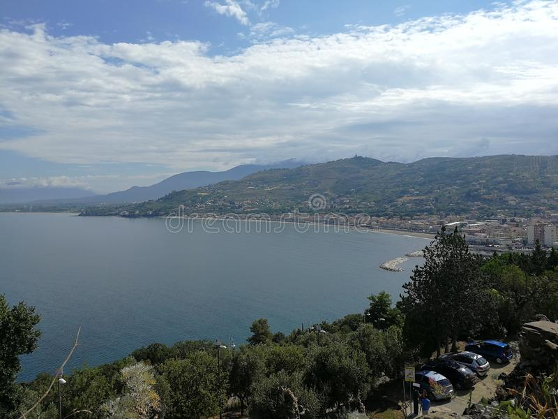 Agropoli - Panorama from the Aragonese castle royalty free stock image