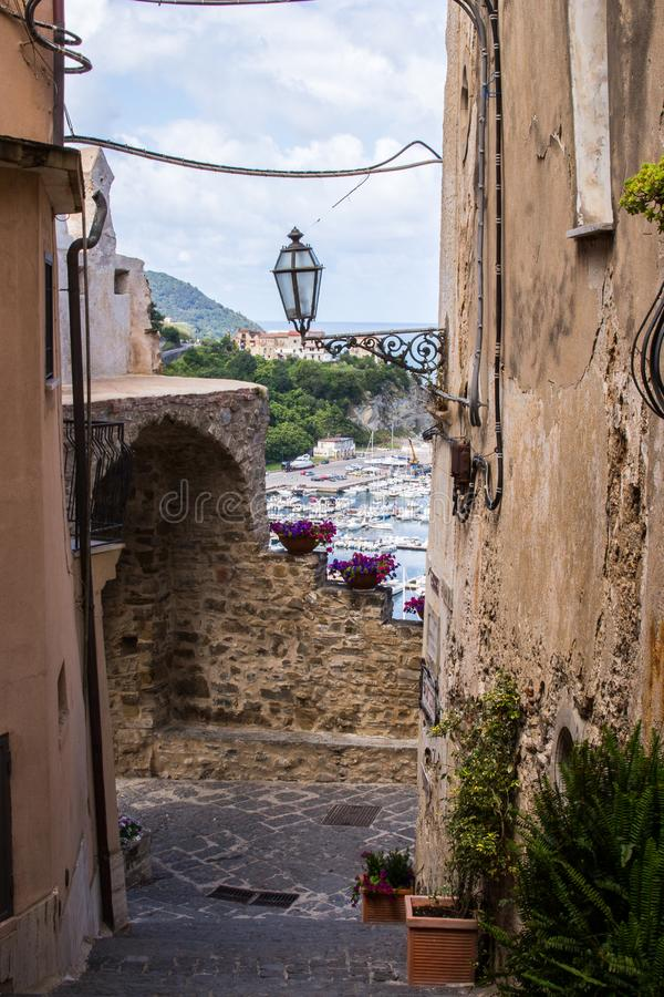 Agropoli, pearl of Cilento, view of the Medieval Castle royalty free stock image