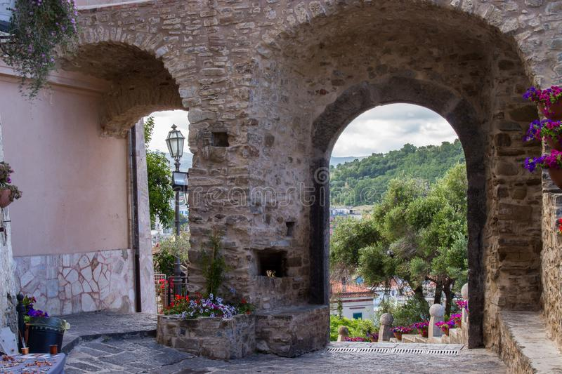 Agropoli, pearl of Cilento, view of the Medieval Castle stock photos