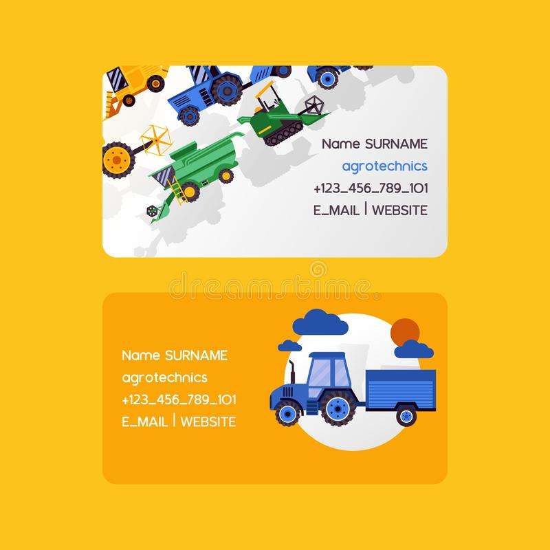 Agrotechnics set of business cards. Harvesting machines vector illustration. Equipment for agriculture. Workers on vector illustration