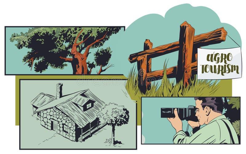 Agrotourism ?co-tourisme Photographe des vacances dans le village Récréation de nature Illustration courante illustration stock
