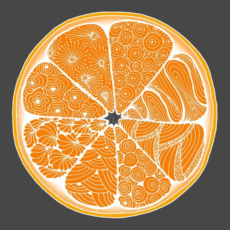 agrume un'arancia nello stile di zentangle fotografie stock libere da diritti