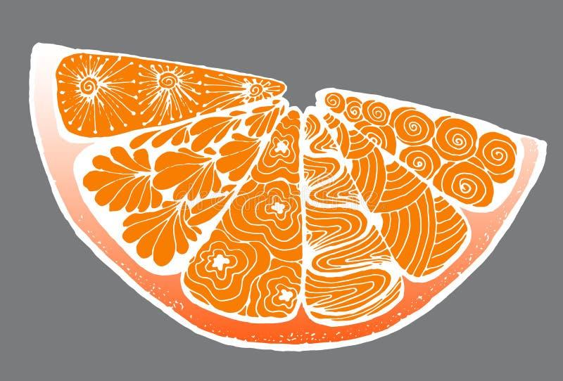agrume un'arancia nello stile di zentangle fotografia stock