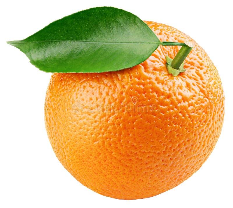 Agrumi arancio con la foglia isolata su bianco fotografia stock