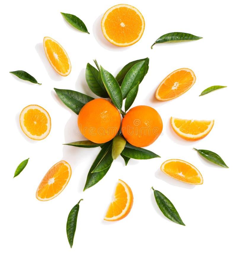 Agrumi e foglie - arance fotografia stock