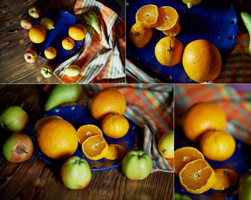 Agrumi su un piatto blu Contrasto Vitamine nel caso della malattia o del vegetarianismo collage fotografia stock libera da diritti
