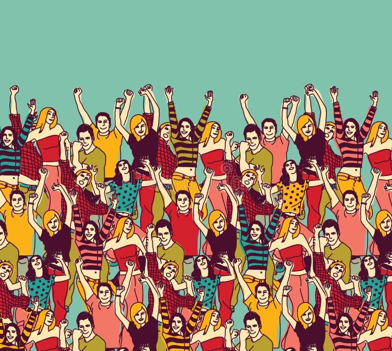 Agrupe el color feliz de la audiencia y del cielo de la gente joven ilustración del vector