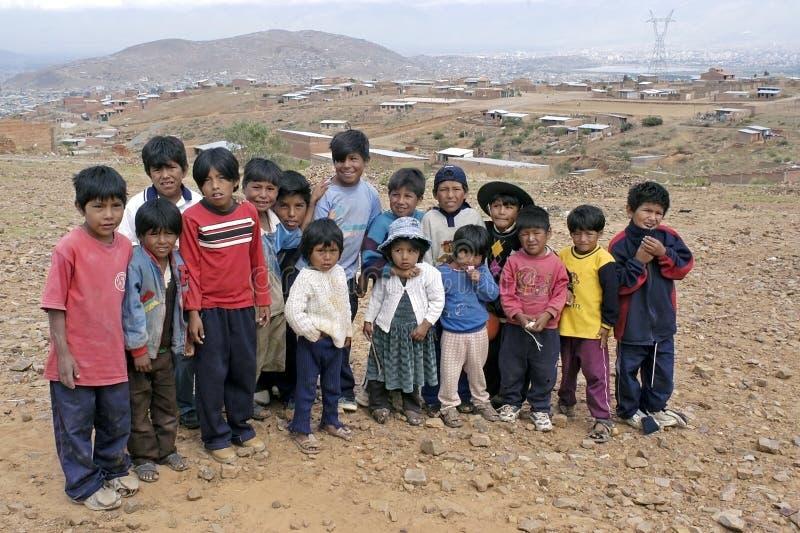 Agrupe el retrato de niños bolivianos jovenes, Bolivia fotos de archivo libres de regalías