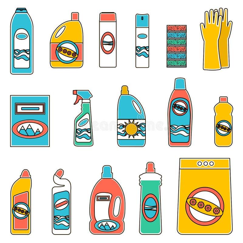 Agrupe las botellas de sustancias químicas para el hogar en el fondo blanco ilustración del vector