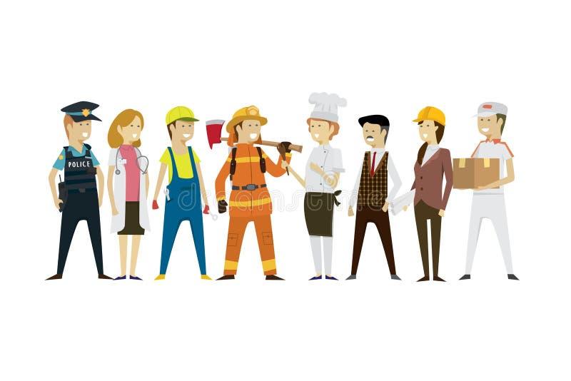Agrupe las profesiones de la gente de los hombres y de las mujeres un plano diverso de la colección libre illustration