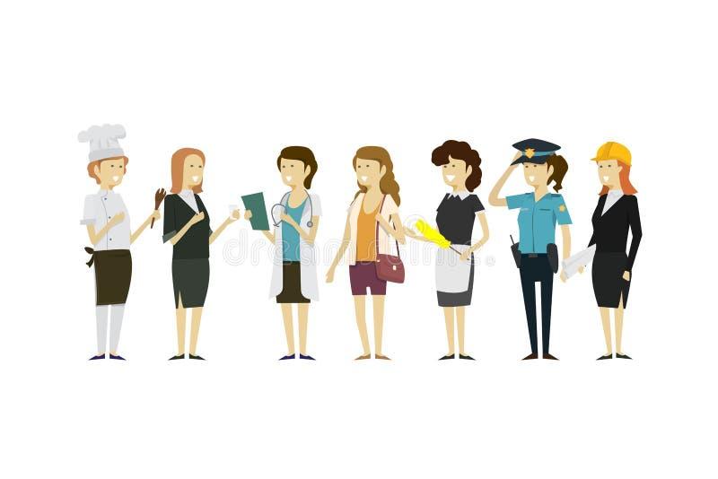 Agrupe las profesiones de la gente un aislante plano del estilo de la colección diversa libre illustration