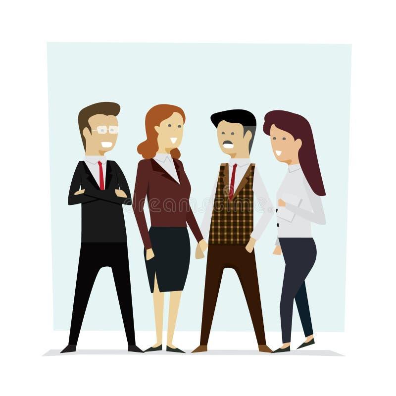 Agrupe a los hombres de negocios del trabajo en equipo, chara de la historieta del ejemplo del vector stock de ilustración