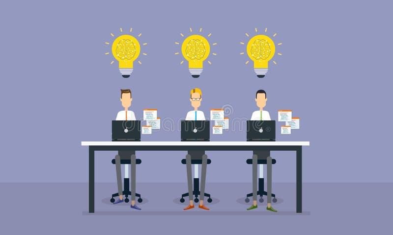 Agrupe o trabalho dos povos e o projeto criativo do negócio do planeamento ilustração stock