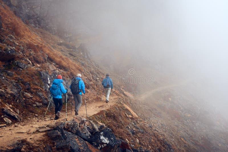 Agrupe os caminhantes com trouxas que andam para baixo na fuga de montanha nas FO fotos de stock royalty free