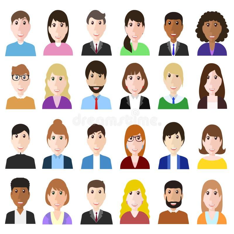 Agrupe trabalhadores da diversidade do og, o homem de negócio diverso e o woma ilustração do vetor