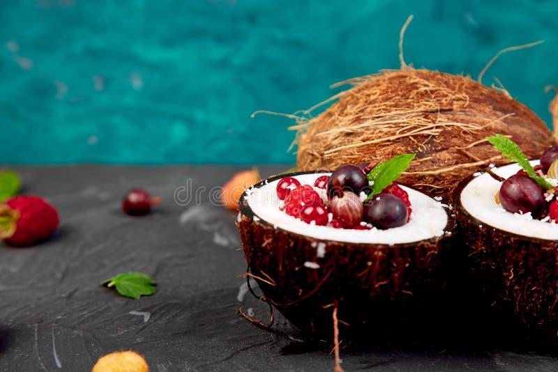 Agrus da salada de fruto, groselha, rasbberry na bacia do escudo do coco imagem de stock royalty free