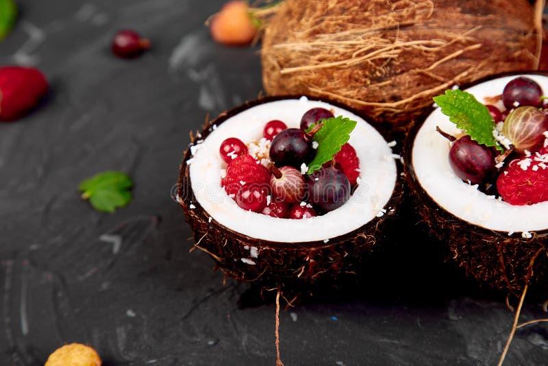 Agrus da salada de fruto, groselha, rasbberry na bacia do escudo do coco imagens de stock