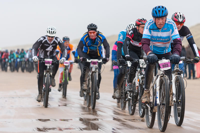 AGU ATB 36km Beach Race Egmond on Sea, The Netherlands royalty free stock photo