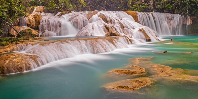 Agua Azul Cascades Long Exposure, Mexico royalty-vrije stock foto's