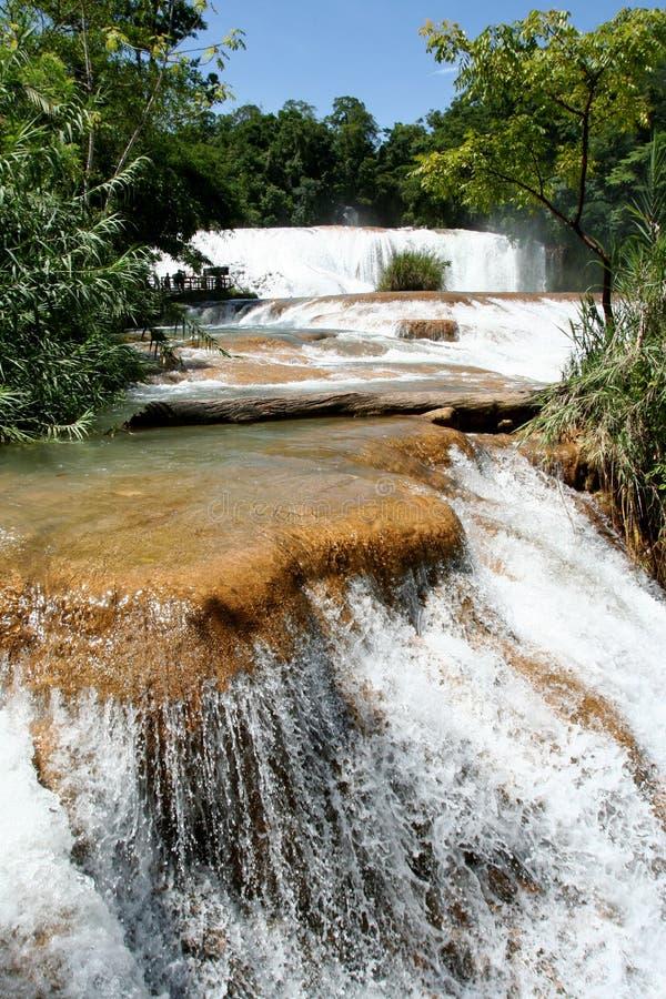 agua azul Mexico siklawa zdjęcia stock