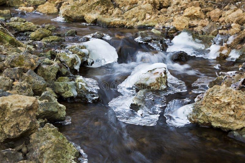 Agua borrosa que fluye abajo de una cala rocosa a través del hielo imagen de archivo