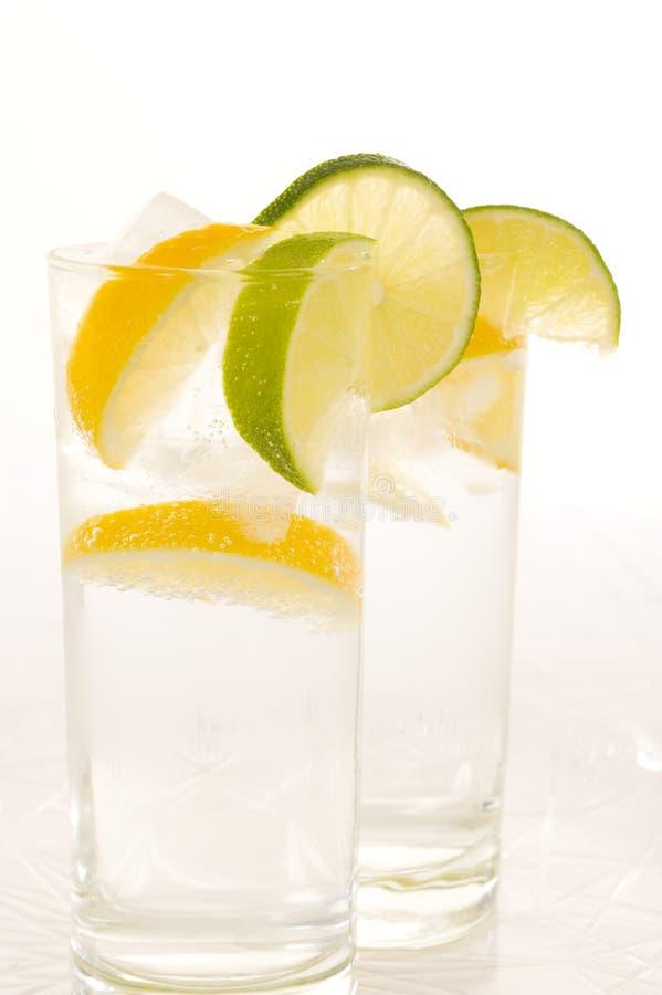Agua con el limón fresco foto de archivo libre de regalías