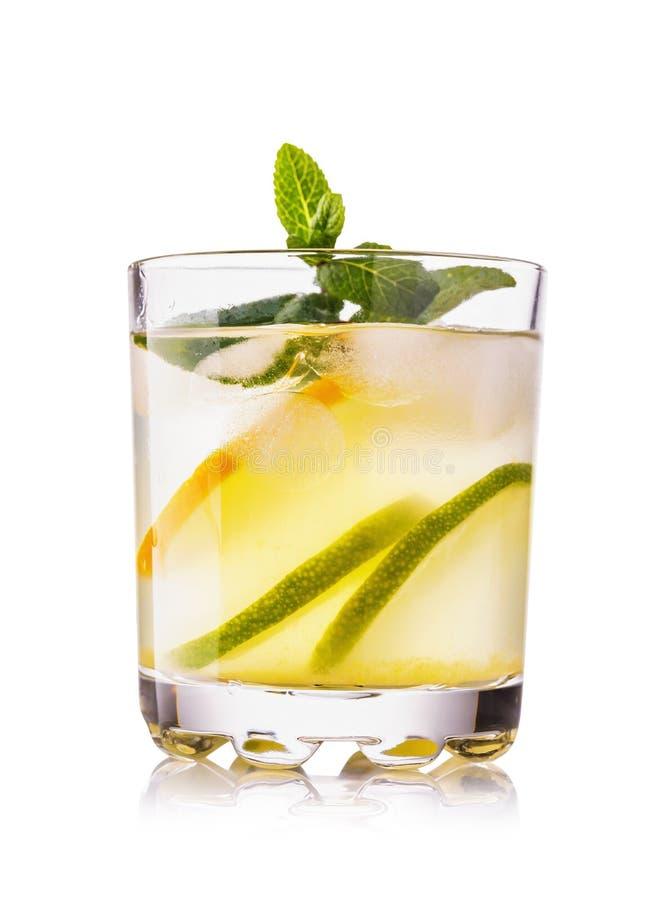 Agua con el limón y la cal en un vidrio transparente con los pedazos de fruta aislados fotografía de archivo