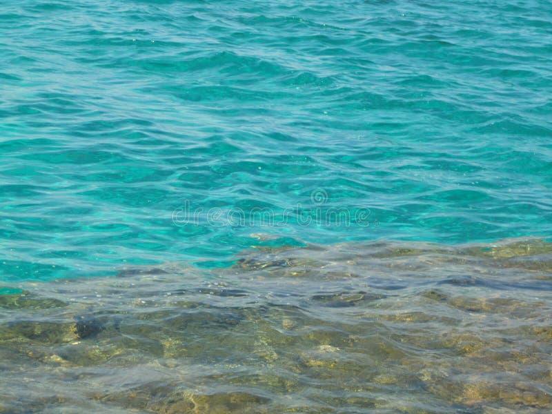 Agua cristalina de la turquesa en parte inferior rocosa imagen de archivo libre de regalías