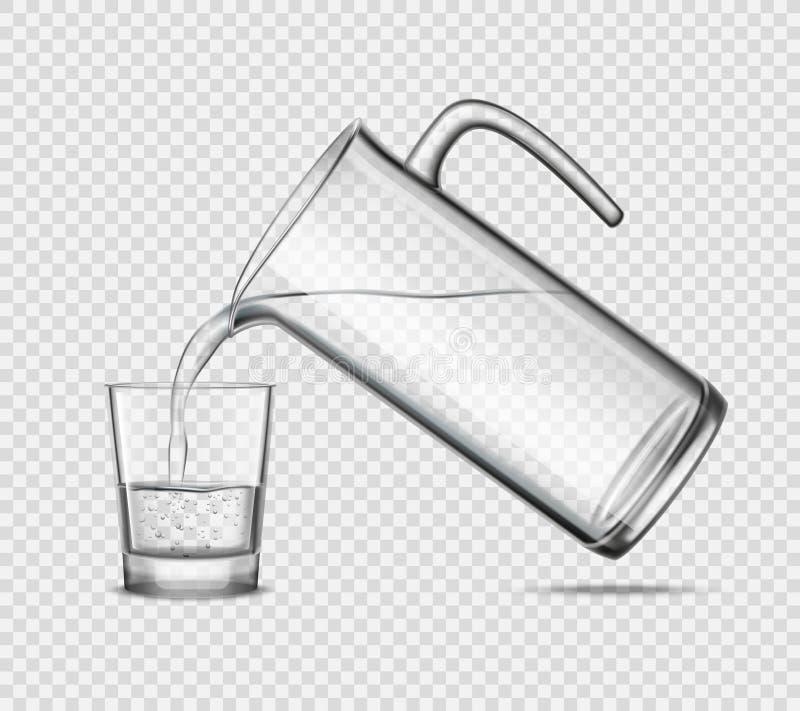 Agua de colada en vidrio en fondo transparente stock de ilustración