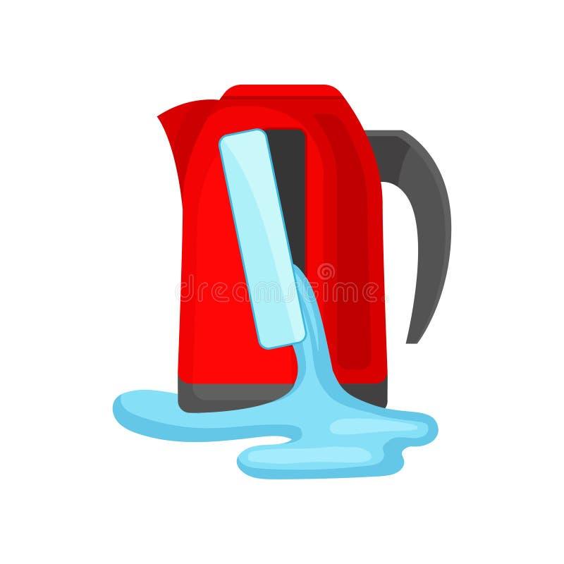 Agua de colada de la caldera roja quebrada, ejemplo dañado del vector del aparato electrodoméstico aislado en un fondo blanco stock de ilustración
