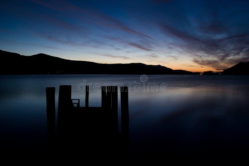 Agua de Derwent de la puesta del sol del embarcadero foto de archivo libre de regalías