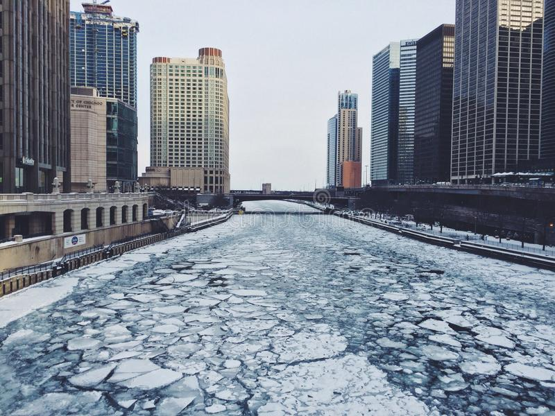 Agua de la nieve de Chicago foto de archivo
