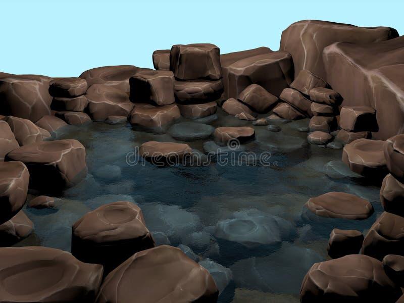 Agua de manatial cristalina natural de la piscina de la roca ilustración del vector