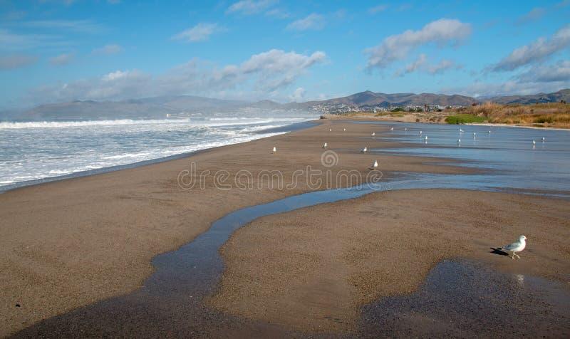 Agua de mar de la onda que desborda en el estuario de la boca del río Santa Clara en Ventura California los E.E.U.U. fotografía de archivo libre de regalías
