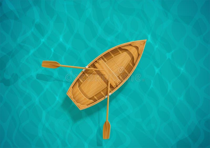 Agua de mar y barco de madera Superficie del océano con la onda Puesta del sol ilustración del vector