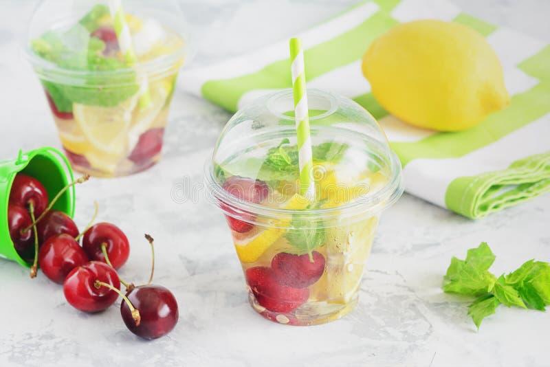 Agua de restauración de la fruta con la fruta cítrica Berry Mint imágenes de archivo libres de regalías