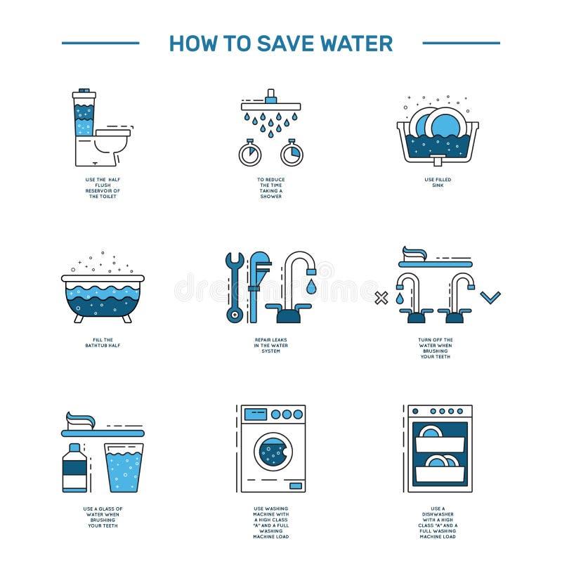 Agua del ahorro de Simbol stock de ilustración